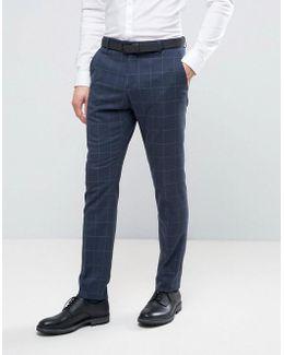 Skinny Suit Pants In Window Pane Check
