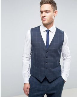 Slim Vest In Window Pane Check