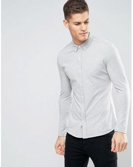 Slim Jersey Button Through Shirt With Stretch