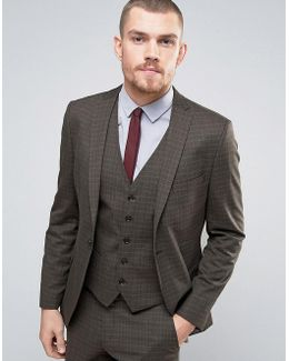 Skinny Suit Jacket In Check