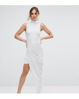 Plisse Maxi Dress With High Neck