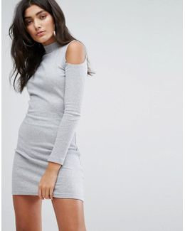 Bodycon Dress With High Neck And Cold Shoulders