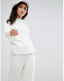 Lightweight Sweatshirt With Ruffle Trim Sleeves Co-ord