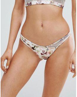 Skye & Staghorn Floral Bikini Bottom With Mesh Insert