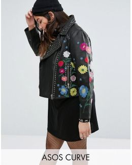 Floral Embroidered Leather Biker Jacket