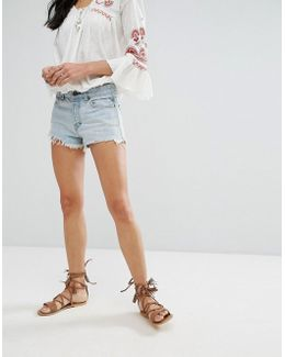 Logan Frayed Mom Denim Shorts