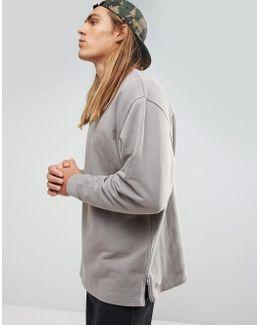 Oversized Longline Sweatshirt With Side Zips In Gray