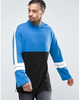 Super Longline Long Sleeve T-shirt With Color Blocking And Wide Sleeve