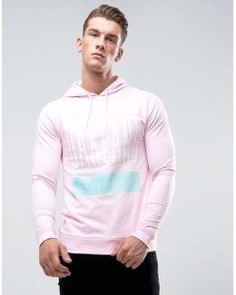 Muscle Hoodie With Print In Pink