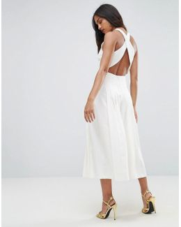 Jumpsuit With Pleated Culotte And Back Detail