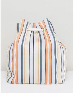 Jumbo Jet Lifestyle Printed Stripe Scuba Drawstring Backpack