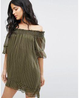 Striped Off The Shoulder Swing Dress