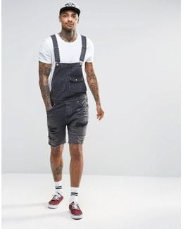 Denim Overalls With Mega Rips In Washed Black