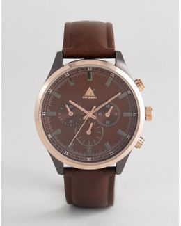 Watch With Brown Faux Leather Strap And Rose Gold Case