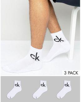 Socks In Quarter Length 3 Pack White