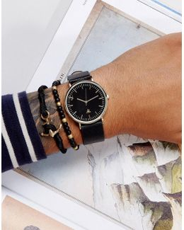 Watch And Bracelet Set In Faux Leather With Anchor Design