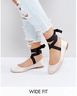 Loved Up Wide Fit Tie Leg Ballet Flats