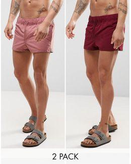 Swim Shorts 2 Pack In Dark Pink & Burgundy Super Short Length Save
