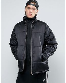 Puffer Jacket With Gold Zips In Black