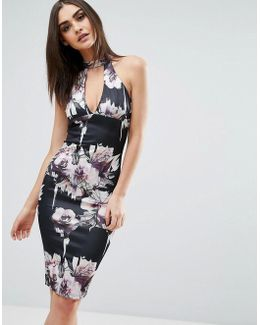 Floral Midi Dress With Choker Detail