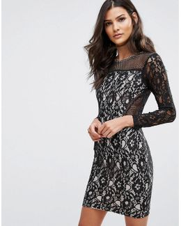 Lace Front Long Sleeved Mini Dress