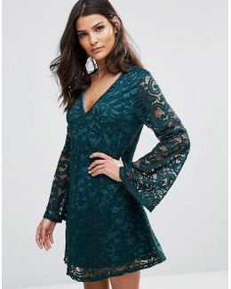 Lace Dress With Fluted Sleeves