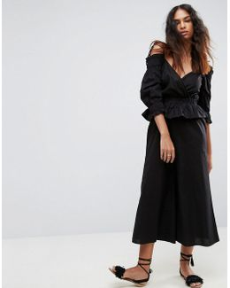 Cotton Jumpsuit With Cold Shoulder And Ruffles
