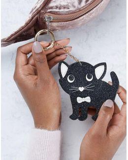 Glitter Cat Bag Charm Key Ring