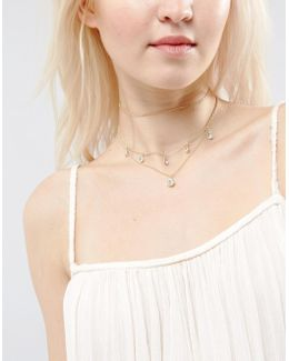 Multirow Crystal Layered Choker Necklace