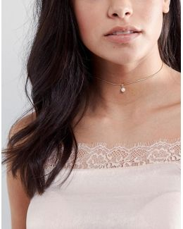 Faux Pearl Drop Choker Necklace