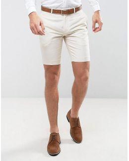 Skinny Smart Shorts In Linen
