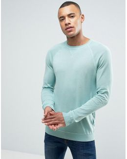 Fine Knit Sweater With Raglan Sleeve Detail In Blue