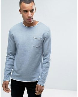 Crew Neck Sweatshirt With Raw Edges And Chest Pocket
