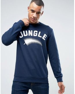 Crew Neck Sweatshirt With Jungle Print
