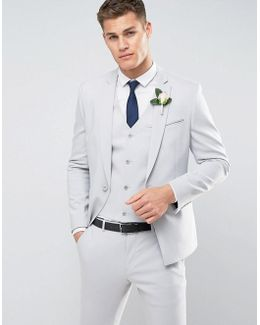 Wedding Skinny Suit Jacket With Square Hem In Gray