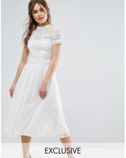 High Neck Lace Midi Dress With Bead Detail