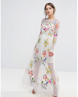 Embroidered Maxi Dress With Tie Waist