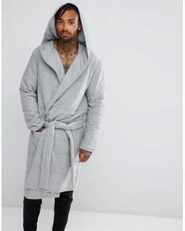 Quilted Dressing Gown In Grey