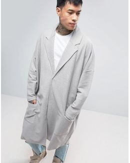 Extreme Oversized Jersey Duster Coat In Gray
