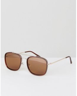 Aviator Sunglasses In Tort With Flat Lens And Gold Metal Arms