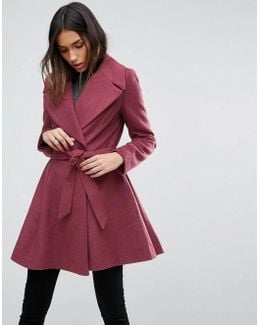 Skater Coat With Self Belt And Oversized Collar