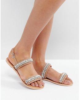 Fearless Embellished Flat Sandals
