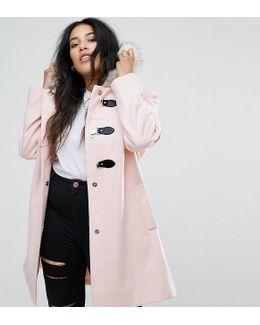 Duffle Coat With Faux Fur Hood