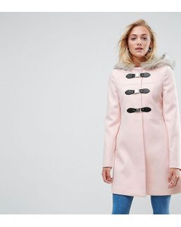 Duffle Coat With Faux Fur Hood