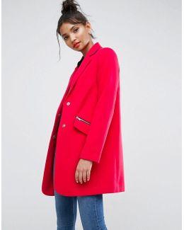 Slim Boyfriend Coat With Zip Pocket