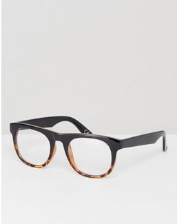 Square Glasses In Tort Fade With Clear Lens