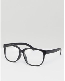 Square Glasses In Matt Black With Clear Lens