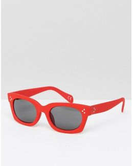 Square Sunglasses In Red With Rubberised Finish