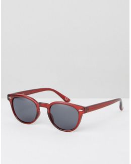 Narrow Square Sunglasses In Crystal Burgundy