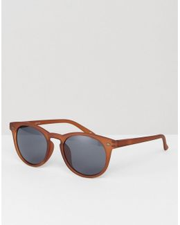 Round Sunglasses In Frosted Brown